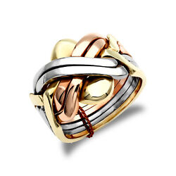 Jewelco London Mens Solid 9ct Yellow White And Rose Gold 6 Piece Puzzle Ring