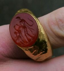 Authentic Antiquities Classical Revival Leda And Swan Red Carnelian 18k Gold Ring