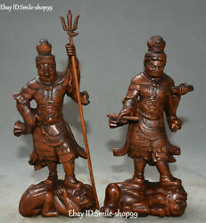11 Old Chinese Boxwood Wood Carved Myth Warrior Immortal Door-god Statue Pair