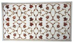 Marble Coffee Table Top Inlay Carnelian Stones Patio Table For Lawn 24 X 48 Inch