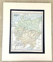 Antique Map Of Germany German Physical Geography Relief Old Victorian 1884