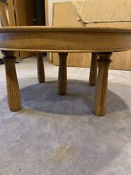 Unusual Antique Oak Large Round 5 Fluted Leg Coffee Table