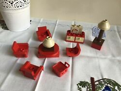 Vintage Lego Duplo Red Brown Living Room Chairs Tv Lamp Table Drawers Set Parts