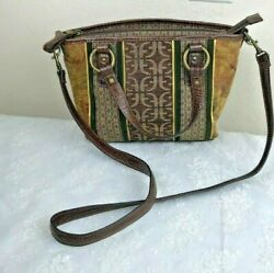 Fossil Tapestry amp; Leather Crossbody Bag 7quot; x 9quot; x 3.5quot; Vintage
