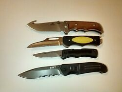 Lot Of 4 Knives 3 Crkt And 1 Gerber Nice Lot Of Unique Knives