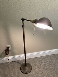 Vtg Western Electric Brass Floor Lamp Clam Shell Industrial Machinist Steampunk