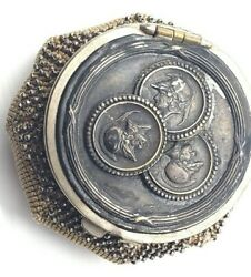 Antique Georgian Steel Cut Beaded Silver Plated Knitted Coin Purse