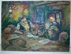 Judaica Signed Oil Painting Rafael Chwoles Rabbi And Children In Cheder 24 X 33cm