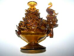 Vintage Unique Mcm Blown Amber Glass Pinecone Carafe Decanter Swan Stopper