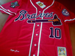 New Atlanta Braves 10 Chipper Jones Cooperstown Dual Patches Sewn Jersey Red