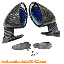 2 X Carbon Fiber Look Car Side Mirrors Rearview Mirrors Kit Vintage Sport Style
