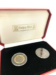 1990 Pobjoy Mint Isle Of Man Penny Black 2 Coin Proof Set .999 Gold