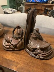 Western Bronze Saddle And Chaps Bookends By Bill Nebeker 18/50