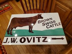 Vintage J. W. Ovitz Brown Swiss Cattle Double Sided Metal Farm Cow Dairy Sign30x