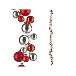 Raz Imports 2021 Snowed In 6-foot Red And Silver Mixed Ball Garland
