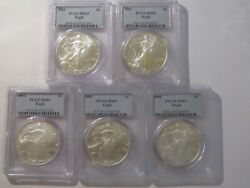 2002 2003 2004 2005 And 2006 1 American Silver Eagles 1 Oz. Dollars-pcgs Ms69