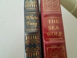 2 Easton Press Books The Sea Wolf White Fang Jack London Factory Sealed New