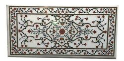 Marble Coffee Table Top Floral Pattern Inlaid Dining Table For Home 30 X 60 Inch