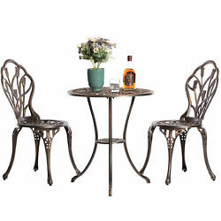Indoor And Outdoor Bronze Dinning Set 2 Chairs With 1 Table Bistro Patio