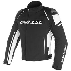 Motorcycle Textil Jacket Dainese Racing 3 D-dry Black/white - Size 46