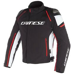 Motorcycle Textil Jacket Dainese Racing 3 D-dry Black/white/red - Size 52