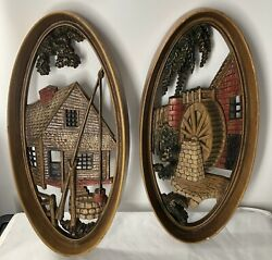 Vintage Burwood Products Company Oval Wall Plaques Hangings Windmill Barn Mcm