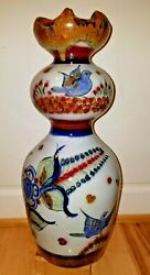 Ken Edwards Tonala Mexican Ceramic Special Edition Scalloped Vase/vessel 16 Wow