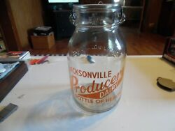 1 Gallon Milk Bottle With Wire Bail Wide Mouth Jacksonville Producers Dairy