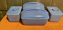 4 Antique Hall Blue Glazed 1930's Refrigerator Dishes Exclusively 4 Westinghouse