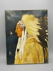 Vintage Oil Painting Sioux Indian Chief Red Tomahawk Western Art Thomas Domiani