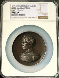 🔥top Pop🔥bronze Medal Proclamation Of Pedro V Year 1855 Lisboa Portugal Ms64