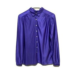 Vintage Givenchy Women's Size 12 Purple Button Front Blouse Career Business Work