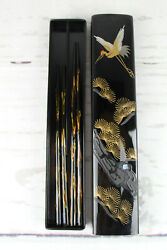 Japanese Crane Chopsticks Sets For Two With Travel Case Portable Bought In Japan
