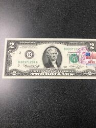 1976 2 Bicentennial Note Canceled With New York State Flag Stamp. Uncirculated