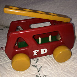 """Vintage Kouvalias Red Wooden Fire Truck With Ladder, Bell 8.5"""" Pull Toy Greece"""