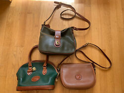 Lot of 3 Coach Dooney amp; Bourke All Weather Leather Bags MADE IN USA Green Brown $59.95
