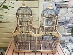 Vintage Bird Cage Wood Metal Victorian Double Dome Cathedral House