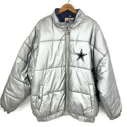 Starter Dallas Cowboys Silver Puffer Jacket Mens Xxl Classic Team Nfl Collection