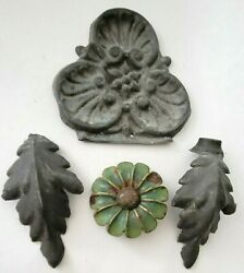 Antique Tin Flower Chocolate Candy Or Plastergesso Mold Acanthus Leaf Andtole Lot