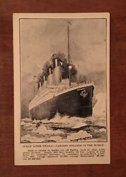 Titanic Disaster Postcard April 28, 1912 Message Mentions Ship White Star Line