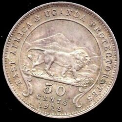 1918 East Africa And Uganda Protectorate 50 Cents Silver Coin Mintage 60000 Km9