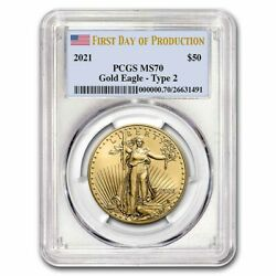Pre-sale - 2021 1 Oz Gold Eagle Ms-70 Pcgs Type 2, First Day Of Production