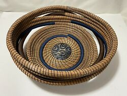 100 Handmade Basket, Pine Needle Coiled, Ceramic Center, Blue And Brown Thread