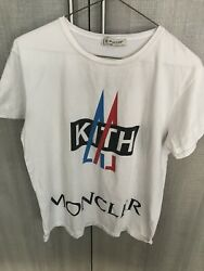 Moncler Kith White Tshirt Size Large For Boys. Will Fit 14 16 Yr Old