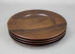 Saap Denmark Carved Rosewood 11 Charger Plates Danish Mid Century Set Of 4