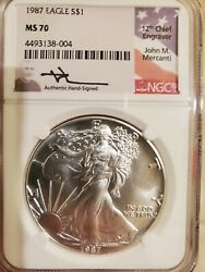 1987 Mercanti Mint State Silver Eagle Ngc Ms70