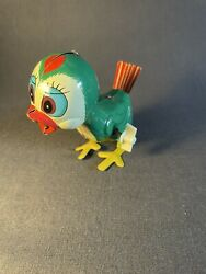 Vintage Louis Marx Toys Wind Up Bird Chick Hopping Tin Toy Japan-working