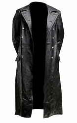 Menand039s Black Leather Classic Officer Military Long German Trench Coat