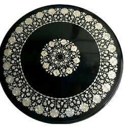 Marble Dining Table Top Marquetry Art Reception Table For Hotel Decor 42 Inches