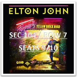 2 Elton John Concert Tickets / 4/1/2022 / Indianapolis In / Bankers Life